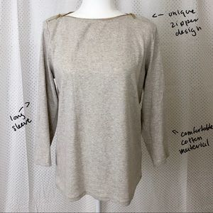 Rafaella Zipper Detail Long Sleeve Tee Sz L